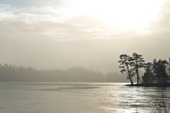 在冻结湖的薄雾,获取在芬兰。 免版税图库摄影