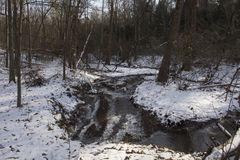 在冻结的冬天风景的小河 免版税图库摄影