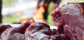 在准备好木的桌上的新鲜的未煮过的红肉被烹调在室外火格栅 烤肉在庭院里 免版税库存照片