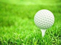 在准备好的发球区域的高尔夫球演奏射击 库存照片