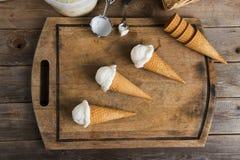 在准备的乳脂状的香草冰淇淋 库存照片