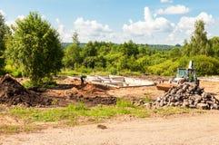 在准备PR的建造场所和房子基础看法  免版税库存图片