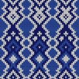 在凉快的蓝色颜色的被编织的无缝的样式 库存图片