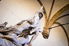 在凉廊della Signoria的雕象 库存照片
