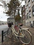 在减速火箭的样式白色的自行车与在一条石边路的一个篮子在哥本哈根 免版税图库摄影