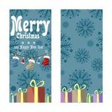 在减速火箭的样式的两副圣诞节横幅 礼物、靴子、帽子和色的光雪花和诗歌选  库存照片