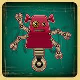 在减速火箭的样式的卡片与机器人 免版税库存照片