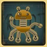 在减速火箭的样式的卡片与机器人 免版税库存图片