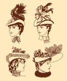 在减速火箭的样式的四个妇女的帽子 库存例证