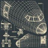 在减速火箭的样式的民用飞机图画 免版税库存图片
