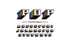 在减速火箭的样式的装饰平板细体大块字体 向量例证