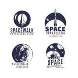 在减速火箭的样式设置的空间商标 库存例证