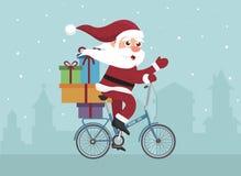 在减速火箭的自行车的平的设计圣诞老人 图库摄影