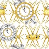 在减速火箭的金子样式的水彩无缝的样式 首饰王冠和时钟,冷杉分支,在白色的金黄蛋糕 库存照片
