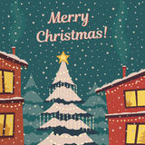 在减速火箭的颜色的圣诞快乐卡片 雪的冬天镇 轻落雪结构树 传染媒介平的例证 免版税库存照片