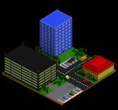 在减速火箭的voxel样式的等量城市风景 向量例证