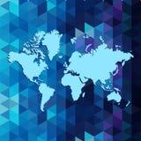 在几何三角样式设计的世界地图, 免版税图库摄影