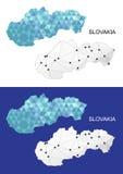 在几何多角形样式的斯洛伐克地图 抽象宝石三角 免版税库存图片
