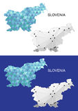 在几何多角形样式的斯洛文尼亚地图 抽象宝石三角 库存照片