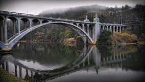 在凶恶河的桥梁 库存照片