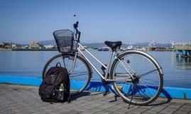 在函馆,日本港的自行车停车处  免版税库存图片