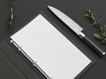 在刀子旁边的被打开的黑菜单和纸板料在黑背景, 3d翻译 免版税库存图片