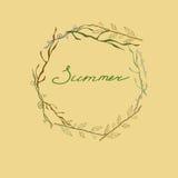在分支的框架的夏天字法 库存图片