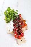 在分支的西红柿和蕃茄在切片,乳酪切开了 图库摄影