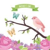 在分支的逗人喜爱的鸟蝴蝶开花装饰母亲节 免版税库存照片