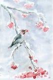 在分支的水彩小的鸟 免版税库存照片