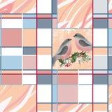 在分支霍莉问候圣诞卡纹理backgr的红腹灰雀 免版税库存图片