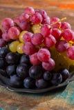 在分类的大有机食用葡萄地球在锡服务 库存照片