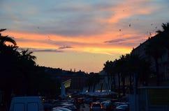 在分裂,克罗地亚的五颜六色的日落 免版税库存图片