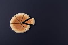在切口上添面包以在后面委员会的圆形统计图表的形式 免版税库存图片