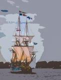 在切塞皮克犬的高船 免版税库存照片