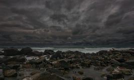 在切尔诺莫雷茨的风雨如磐的晚上,保加利亚 免版税图库摄影