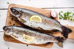 在切板的两条未加工的鳟鱼用麝香草、柠檬和红洋葱 免版税库存图片