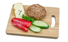 在切板的健康素食快餐 库存图片