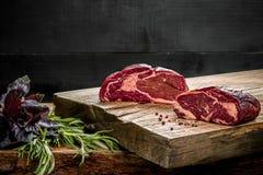 在切板的新鲜的未加工的牛肉有新鲜的蓬蒿的和迷迭香小树枝  库存照片