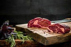 在切板的新鲜的未加工的牛肉有新鲜的蓬蒿的和迷迭香小树枝  库存图片