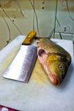 在切板的鲤鱼 免版税库存照片