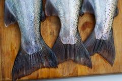 在切板的鳟鱼尾巴 免版税库存图片