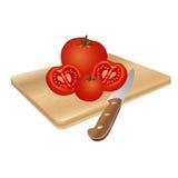 在切板,传染媒介例证的蕃茄 免版税库存图片