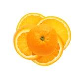 在切片的新桔子裁减被隔绝在白色 免版税图库摄影