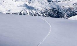 在划分在两的未留下足迹的高山雪原的滑雪轨道 库存照片