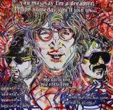 在列侬墙壁布拉格上的Beatles街道画 免版税库存图片