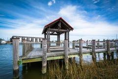 在刘易斯和Rehoboth运河的码头,在刘易斯,特拉华 免版税库存图片