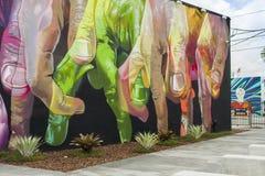 在创造性的Wynwood和艺术区的艺术壁画在迈阿密 免版税库存照片