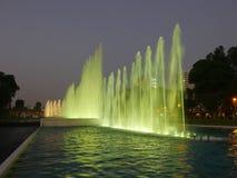 在利马不可思议的水电路的绿色喷泉 免版税库存图片