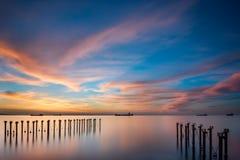 在利马索尔海的日出 库存照片
